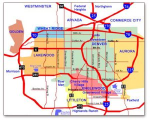 drawn map of Denver metro area
