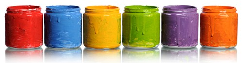 jars of colorful paint